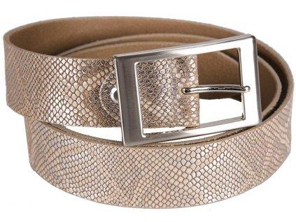 Béžovo stříbrný kožený pásek 351362, BERND GÖTZ