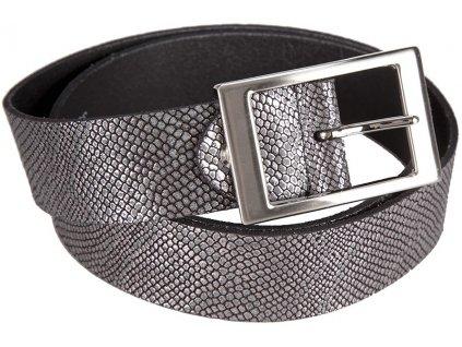 Černo stříbrný kožený pásek 351362, BERND GÖTZ
