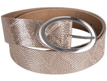 béžovo stříbrný kožený pásek 402488, BERND GÖTZ