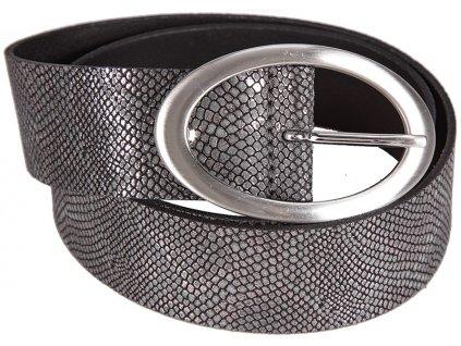 Černo-stříbrný kožený pásek 402488, BERND GÖTZ