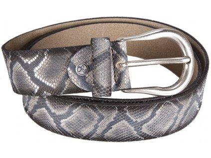černý-antracit kožený pásek hadí vzor 402518, BERND GÖTZ
