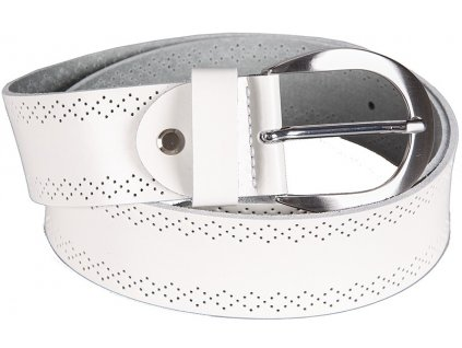 Bílý kožený pásek Bernd Götz s perforováním - půlkulatá spona