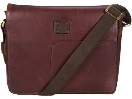 "hnědá kožená taška na 15"" notebook 202, BUGATTI"