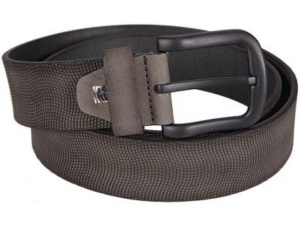 Pánský šedý kožený pásek 200, LINDENMANN