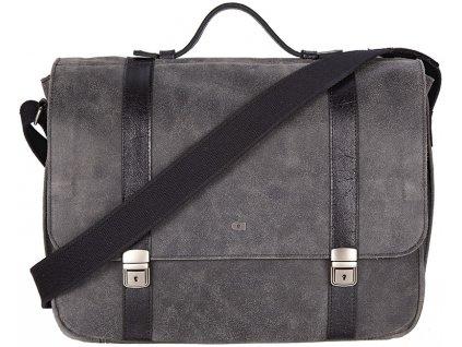"""Černá (antracit) kožená taška přes rameno na 15"""" notebook ,  JAZZY RISK UP 136, DAAG"""