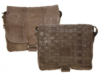 Oboustranná šedá kožená taška 25-0264, Bull&Hunt