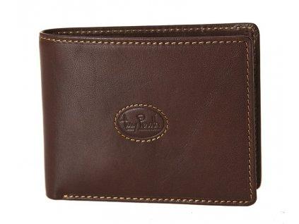 Luxusní pánská tmavě hnědá kožená peněženka italské značky Tony Perotti.