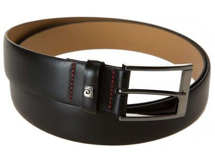 Pánský černý kožený pásek 70002, PIERRE CARDIN