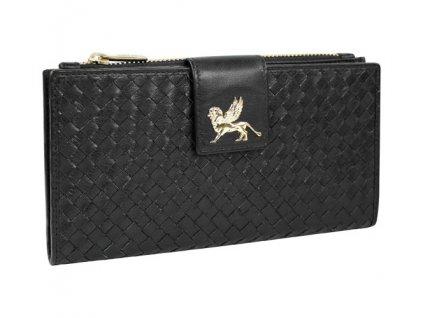 velká dámská černá kožená peněženka MANO Forte M19402