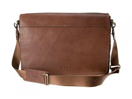 "TONY PEROTTI hnědá kožená taška na 13"" notebook  9027-38, Tony Perotti"