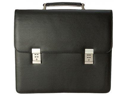 """Černá aktovka z kvalitní umělé kůže v kombinaci s nylonem - možné i na 17"""" notebook, d&n. Pánská aktovka na spisy. Aktovka pro muže. Dárek pro muže."""