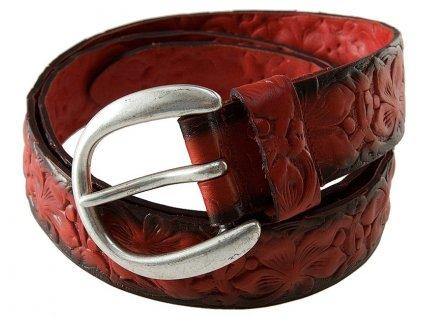 červený kožený pásek 402185, BERND GÖTZ