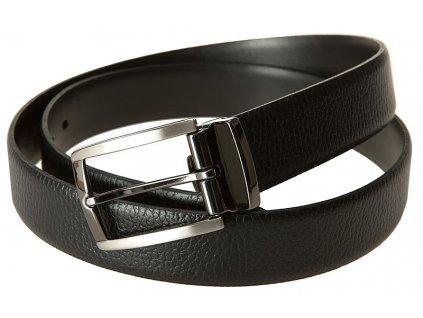 Pánský černý kožený pásek 0812, LLOYD