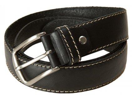 Luxusní kožený černý pánský BERND GÖTZ se světlým štepováním