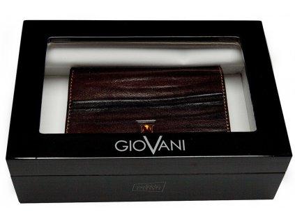 Luxusní menší pánská hnědá kožená peněženka JANTAR AW 101, GIOVANI