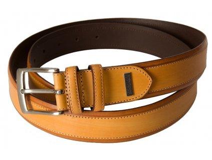pánský béžový kožený pásek 620007, LINDENMANN