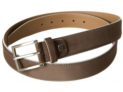 pánský hnědý kožený pásek 752, LINDENMANN