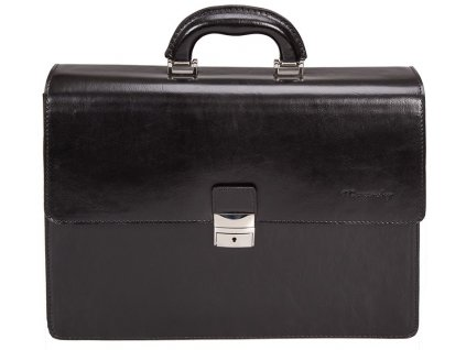 MONARCHY černá kožená aktovka na notebook 861, MONARCHY
