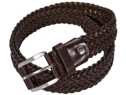 pánský tmavě hnědý kožený pásek 5046 , LINDENMANN
