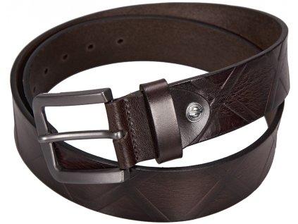 pánský tmavě hnědý kožený pásek 338 , LINDENMANN