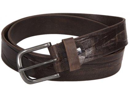 pánský tmavě hnědý kožený pásek 340 , LINDENMANN