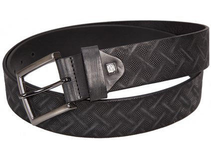 pánský černý kožený pásek 325 , LINDENMANN