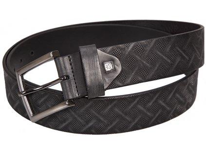 Pánský černý kožený pásek značky LINDENMANN