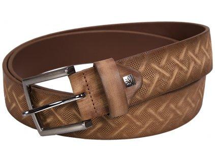 pánský hnědý - koňak kožený pásek 325 , LINDENMANN