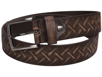 pánský tmavě hnědý kožený pásek 325 , LINDENMANN