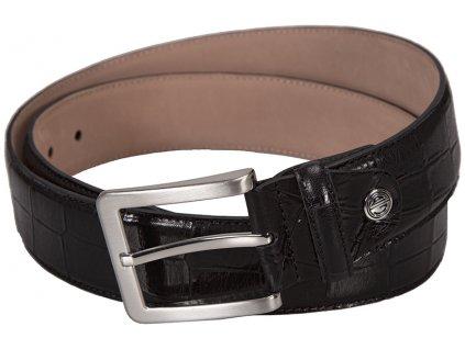 Luxusní pánský černý kožený pásek značky LINDENMANN