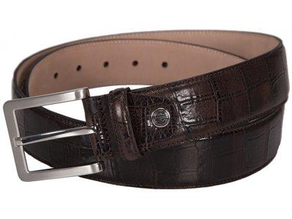 Luxusní pánský hnědý kožený pásek značky LINDENMANN