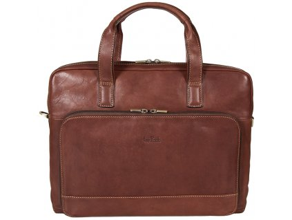 Luxusní pánská hnědá kožená taška přes rameno od italské značky Tony Perotti