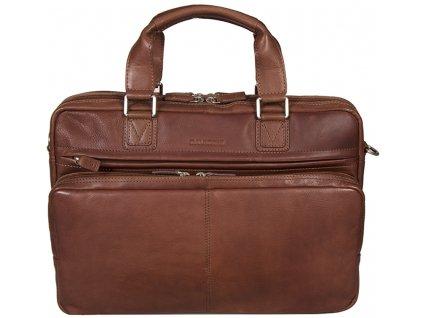 Hnědá kožená taška přes rameno 600701, DAVIDTS