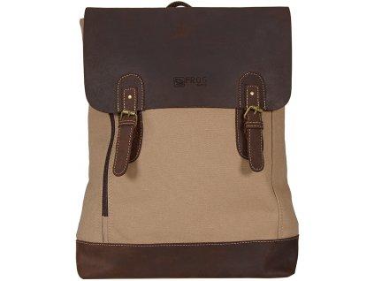 béžový batoh z canvasu a pravé kůže SD 9001, FROG