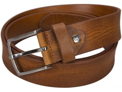 Elegantní koňak kožený pásek LINDENMANN