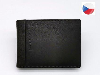 Pánská tmavě hnědá kožená peněženka LAGEN