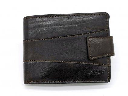 Pánská tmavě hnědá kožená peněženka V-98/T-DBRN, LAGEN