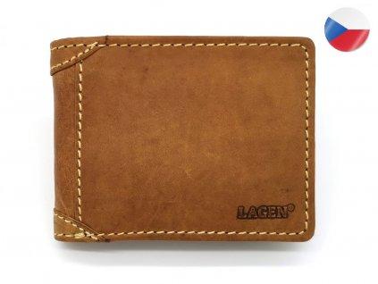 Pánská světle hnědá kožená peněženka LAGEN