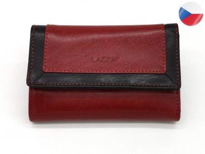 Dámská červená kožená peněženka BLC/4390-RED/BLK, LAGEN