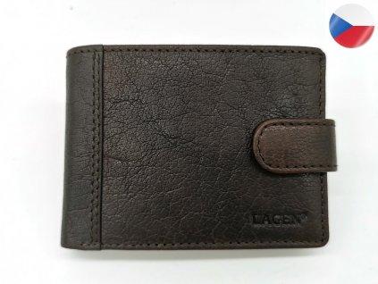 Pánská kožená peněženka LAGEN, 8575-BRN - tmavě hnědá