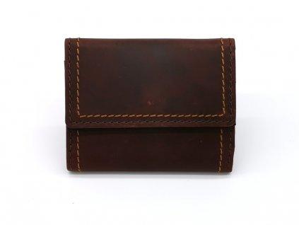 Malá luxusní hnědá kožená peněženka B240014-Ca, MARTA PONTI