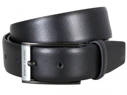 Pánský černý kožený pásek 70279, PIERRE CARDIN