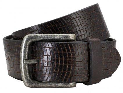 Pánský tmavě hnědý kožený pásek 70347, PIERRE CARDIN