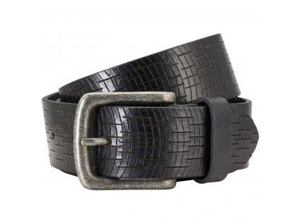 Pánský černý kožený pásek 70347, PIERRE CARDIN