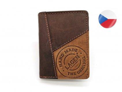 Pánská kožená peněženka LAGEN, Fred - tmavě hnědá