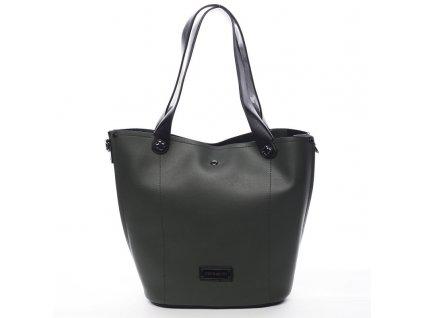 Zelená značková dámská kabelka Thomas s černými prvky, PIERRE CARDIN