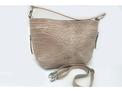 Luxusní dámská kožená kabelka PIERRE CARDIN, Grin - krémová