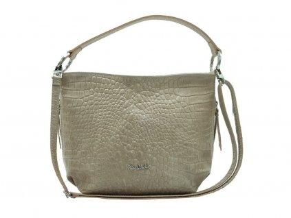 Luxusní dámská kožená kabelka PIERRE CARDIN, Grin - šedá/hnědá