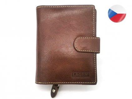 Kožená peněženka LAGEN Aylar - hnědá