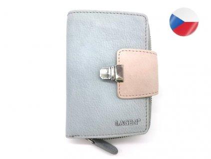 Dámská kožená peněženka LAGEN Lea - šedá/růžová